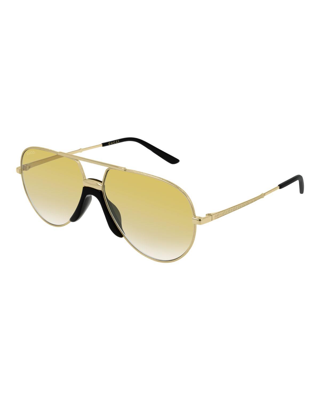 56ad3b7270a Gucci. Metallic Men s Aviator Gold-lens Sunglasses.  415 From Bergdorf  Goodman