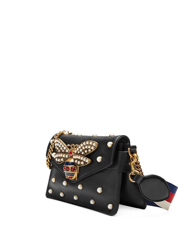 a235d6176de Gucci Broadway Pearly Bee Shoulder Bag in Black - Lyst
