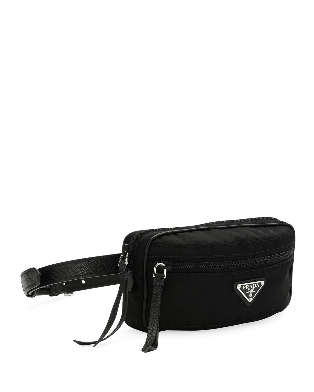 42cb8e89fe Lyst - Prada Nylon Belt Bag in Black