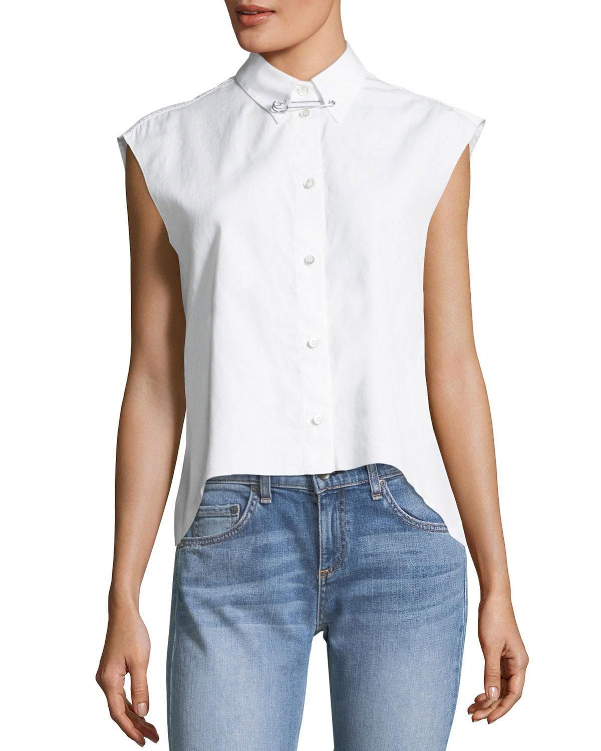 Helmut Lang Button Front Sleeveless Cropped Poplin Shirt