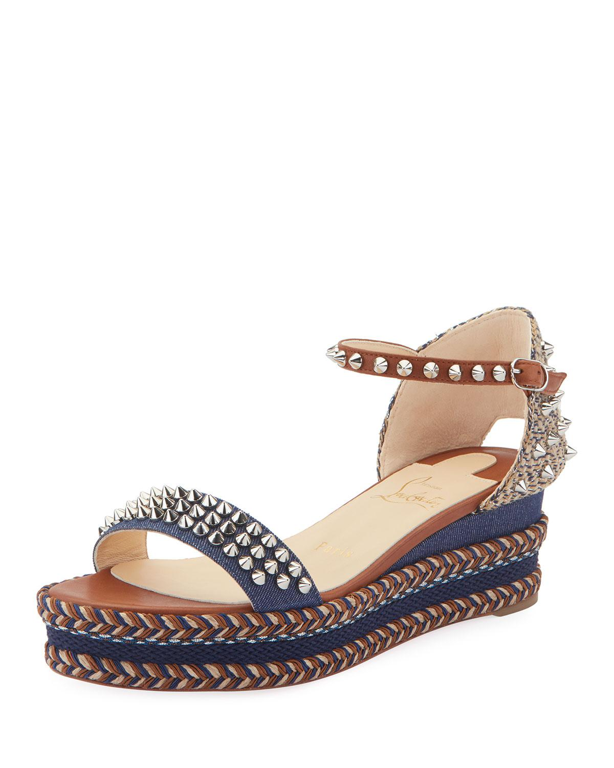 b3eaaf12c08b Christian Louboutin. Women s Blue Madmonica 60mm Spiked Denim Wedge Red  Sole Sandals