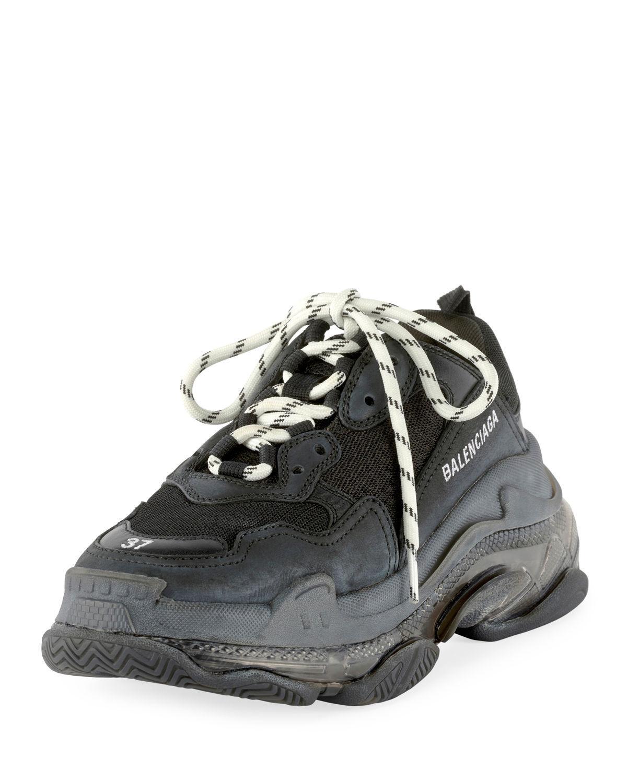 def9b2f03c7f Lyst - Balenciaga Men s Triple S Mesh   Leather Sneakers Black in ...