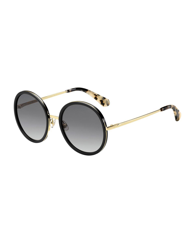 99e8035cf1d4d Lyst - Kate Spade Lamonica Round Sunglasses in Black