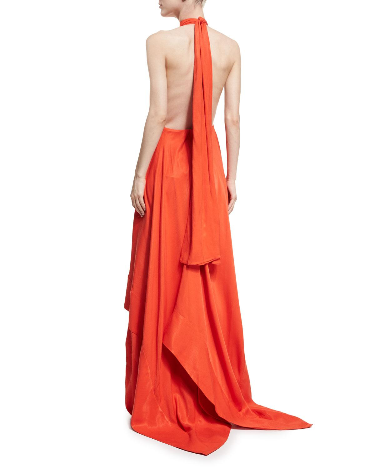 Lyst - Solace London Esme Halter Sleeveless Linen Gown in Red - Save ...