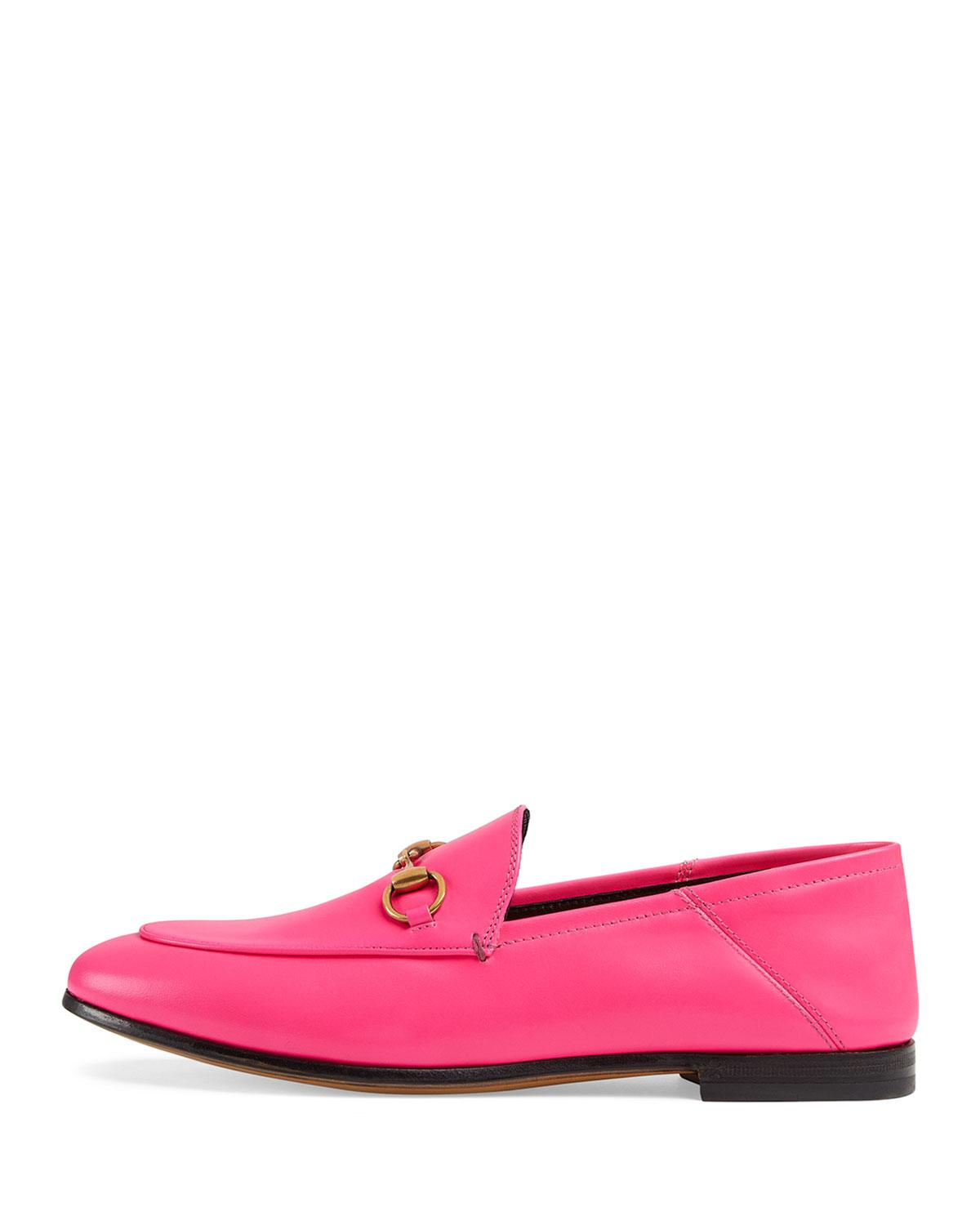 bdc3202fa23 Gucci Brixton Neon Leather Horsebit Loafers in Pink - Lyst