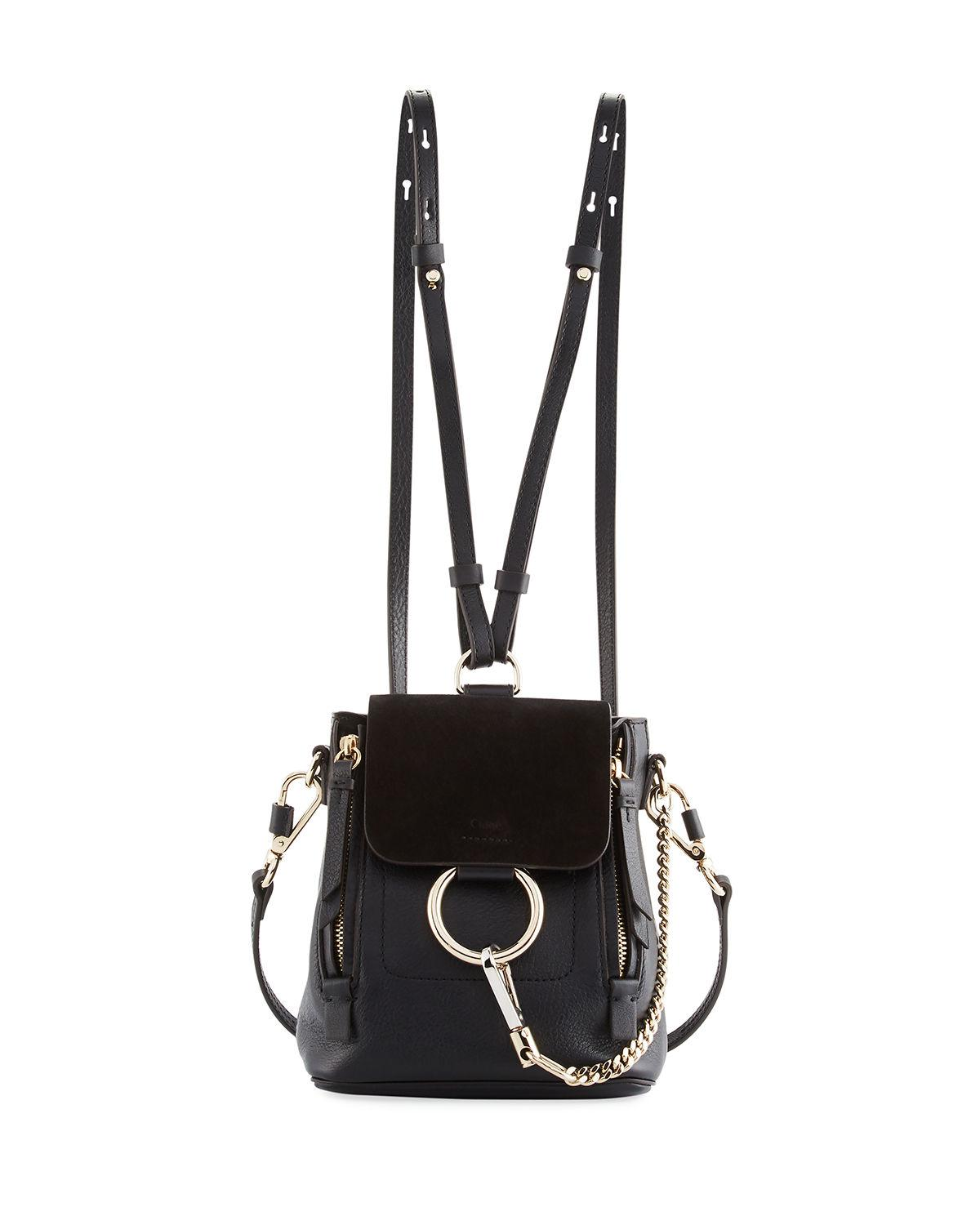6a3720d4a20a Lyst - Chloé Faye Mini Leather suede Backpack in Black - Save 29%