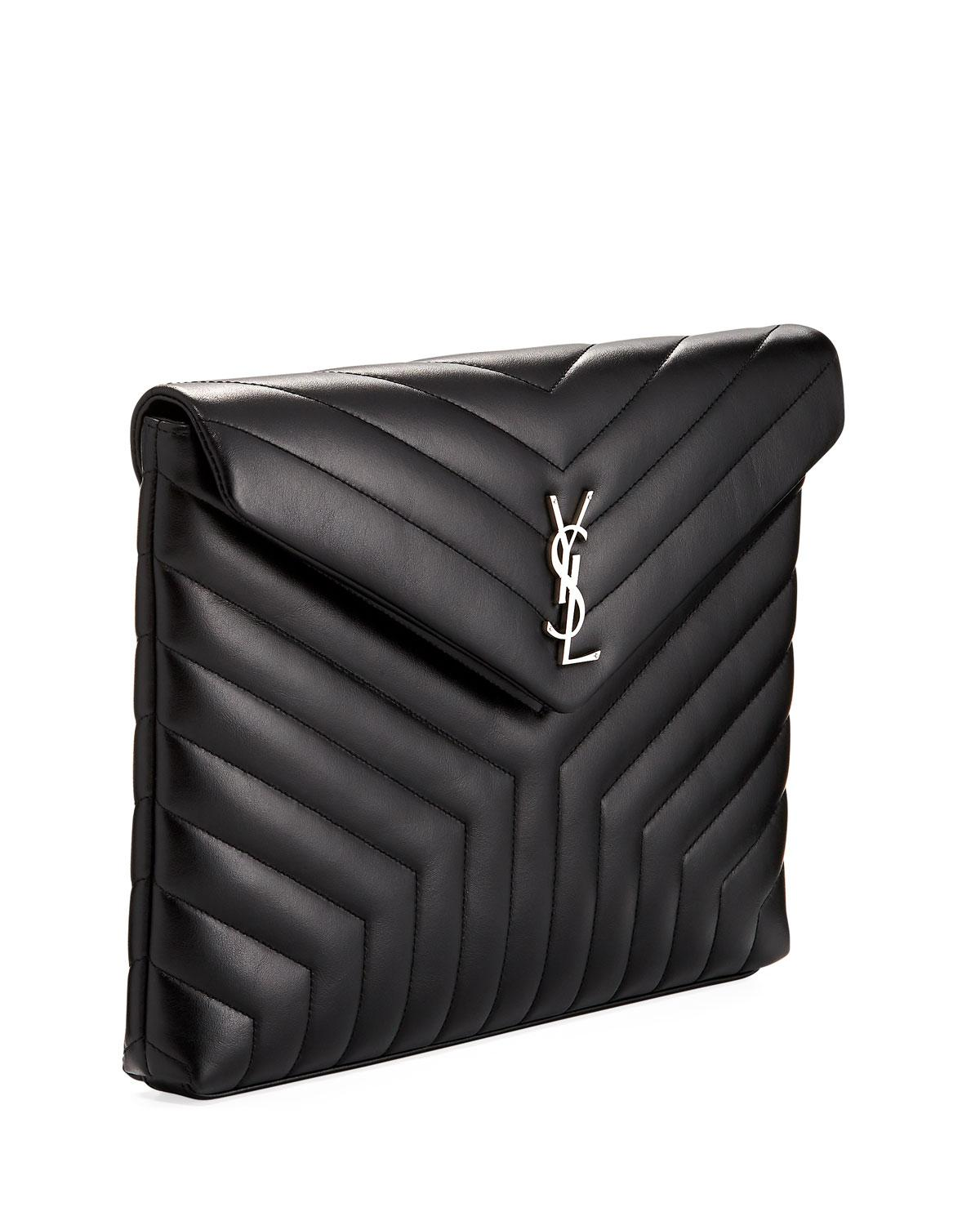 Lyst - Saint Laurent Monogram Loulou Quilted Document Holder in Black 530b2742f9f39