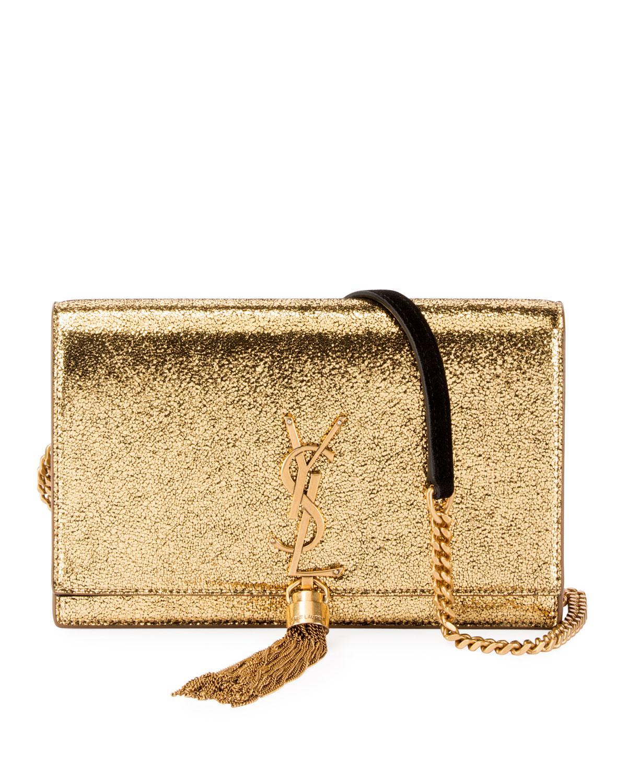 5de5669f39 Saint Laurent Kate Monogram Ysl Small Crackled Metallic Wallet On ...