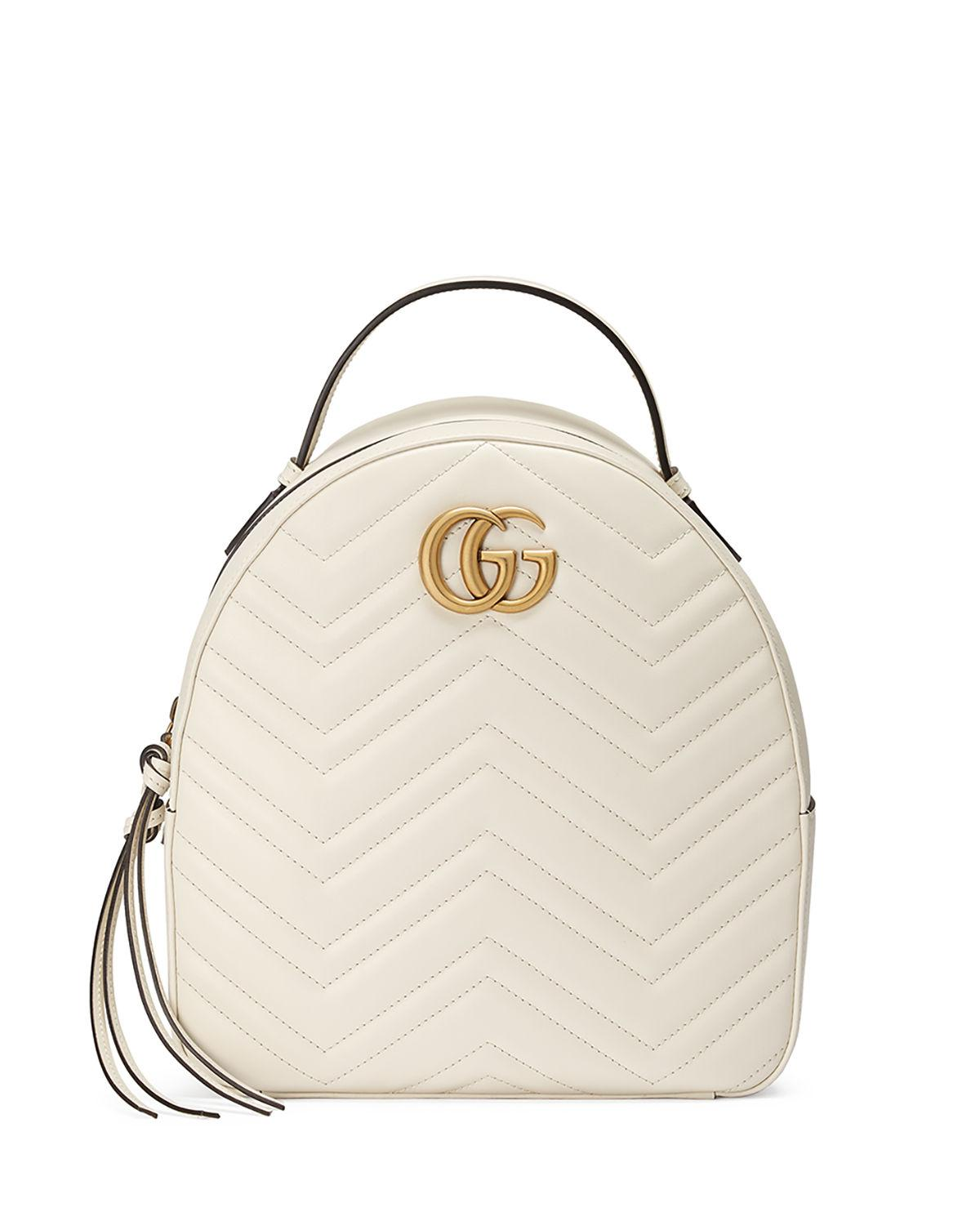 Lyst - Gucci Gg Marmont Quilted Leather Backpack in White 9e9ea3d496956