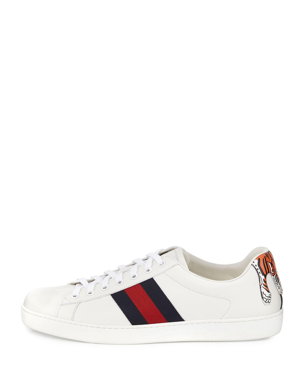 48c18c949 Gucci New Ace Hanging Tiger Leather Low-top Sneaker in White - Lyst