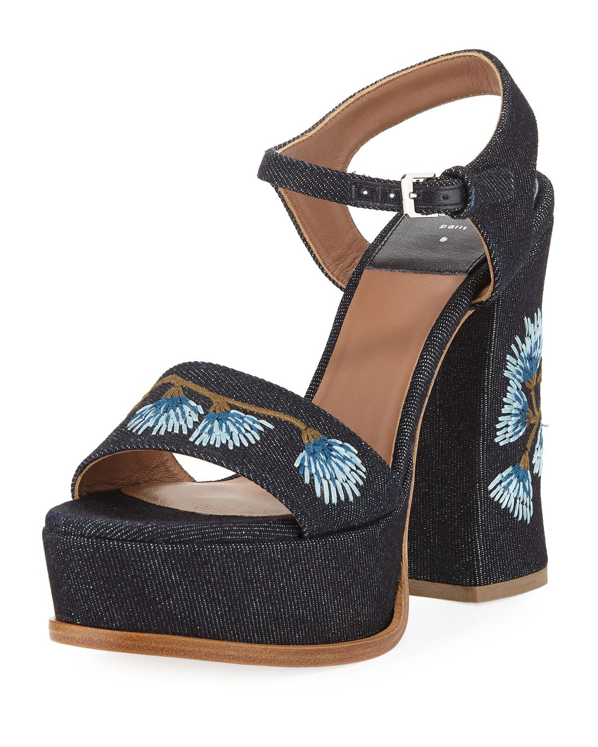 floral embroidered platform sandals - Brown Laurence Dacade 9E1WRe