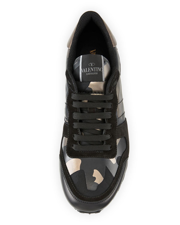 0ada8eef6de3 Lyst - Valentino Men s Rockrunner Camo Leather Sneakers in Black for Men