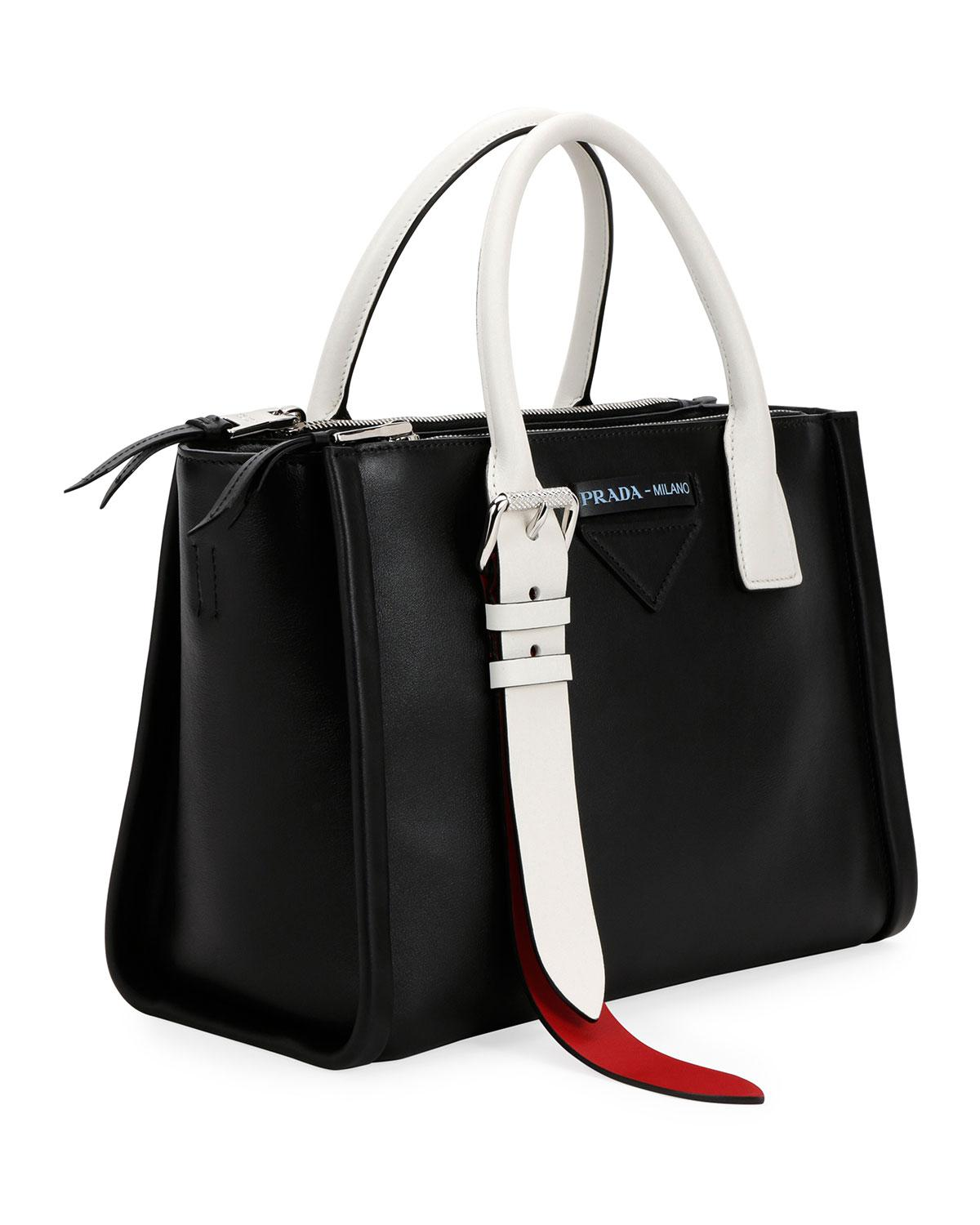 360c953aee78 Lyst - Prada Colorblock Leather Side-buckle Satchel Bag in Black