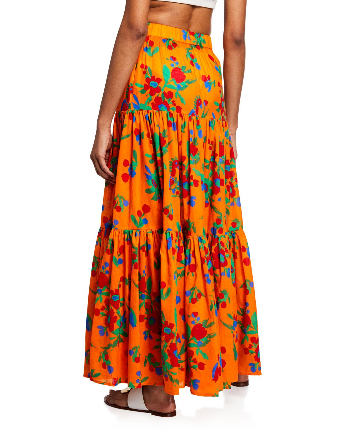dd9a540bf94e Lyst - Tory Burch Floral-print Tiered Coverup Maxi Dress in Orange