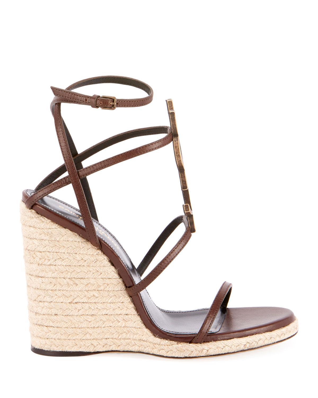fc8308c0161 Lyst - Saint Laurent Cassandra Leather Espadrille Wedge Sandals in Brown
