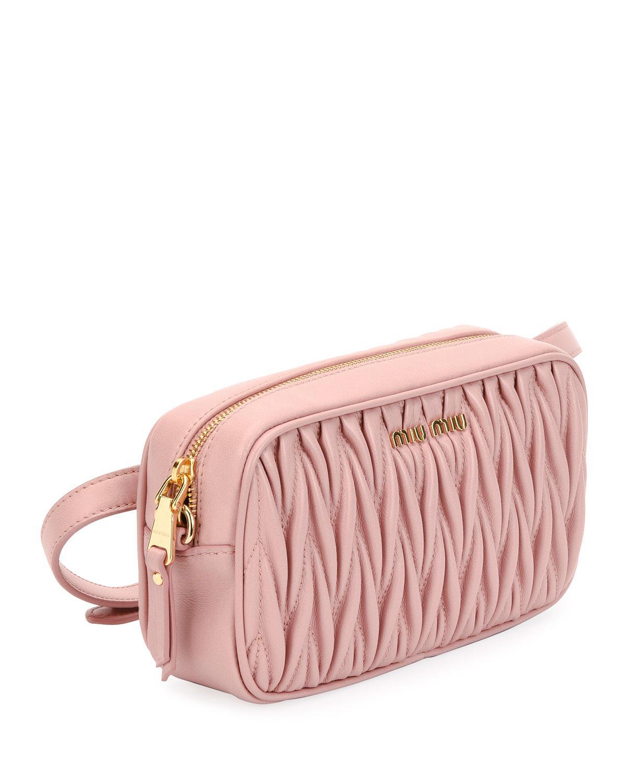 Lyst - Miu Miu Matelasse Leather Belt Bag in Pink ca70652d3df39