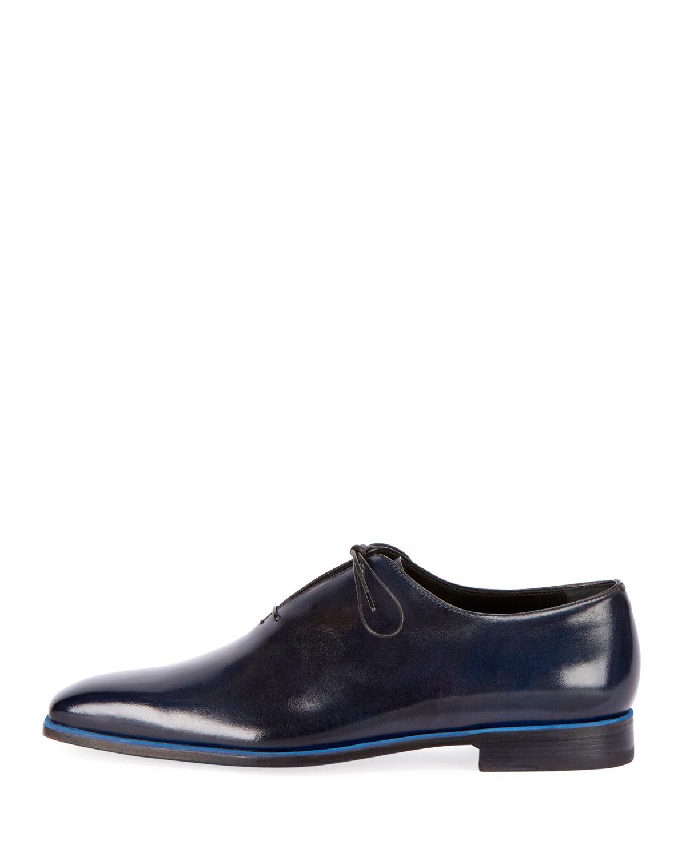 Lyst Berluti Profondo One Piece Leather Shoe In Blue For Men