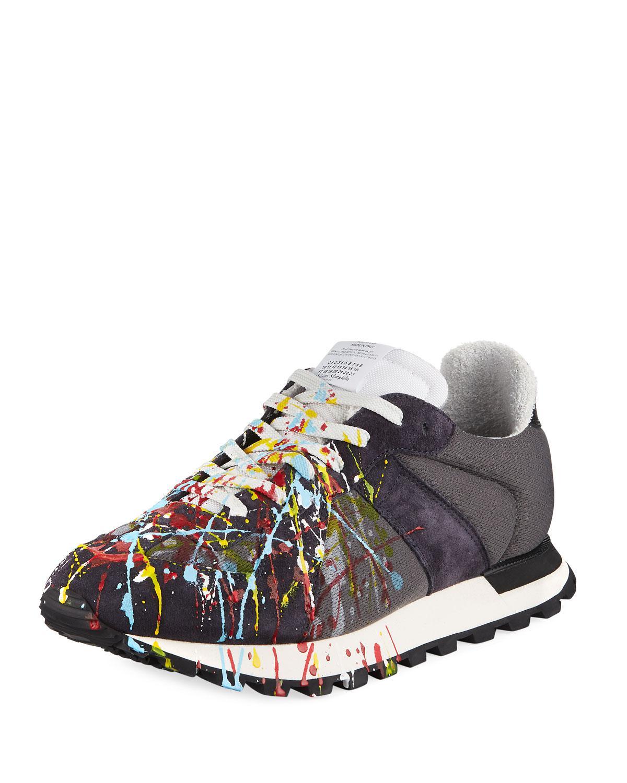 f3bc81371b62 Maison Margiela. Men s Replica Paint-splatter Suede-trim Running Sneakers