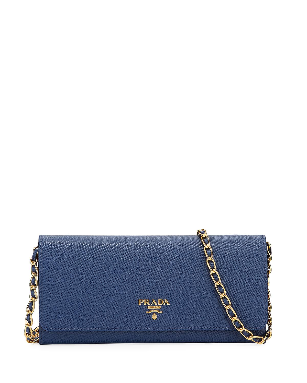 73a0df227ad6 Prada - Blue Saffiano Wallet On A Chain - Lyst. View fullscreen