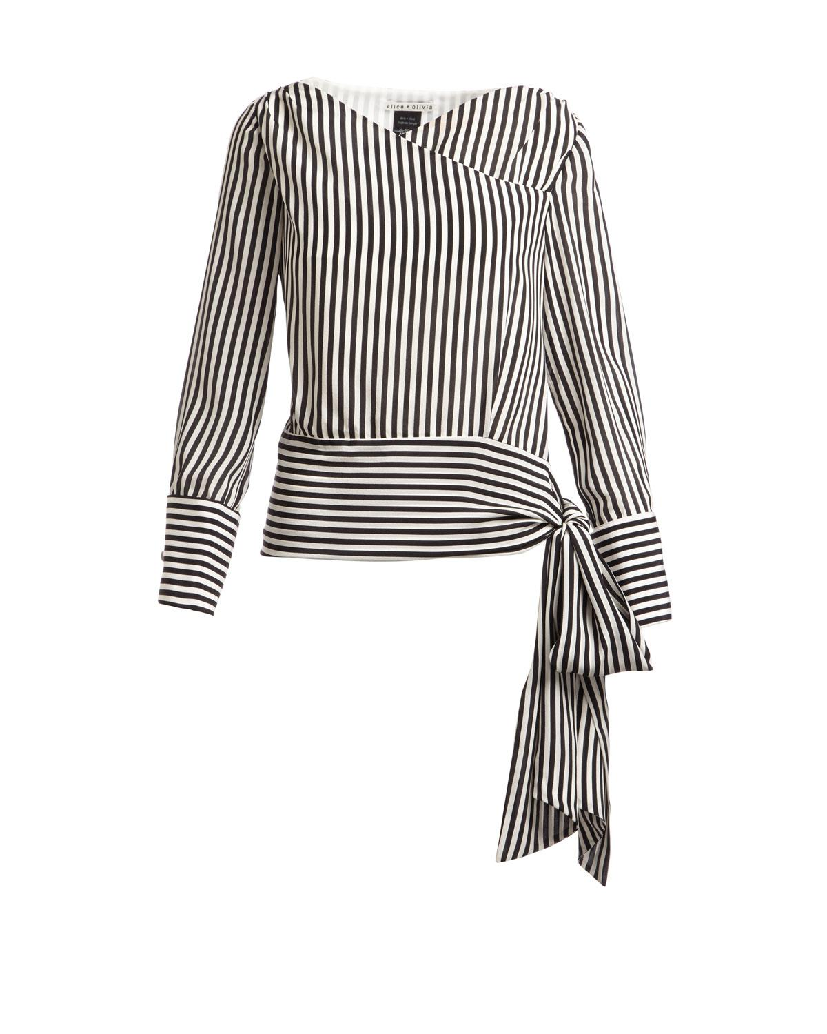 15305b9e89685 Lyst - Alice + Olivia Alba Crossover Striped Tie-waist Silk Blouse ...