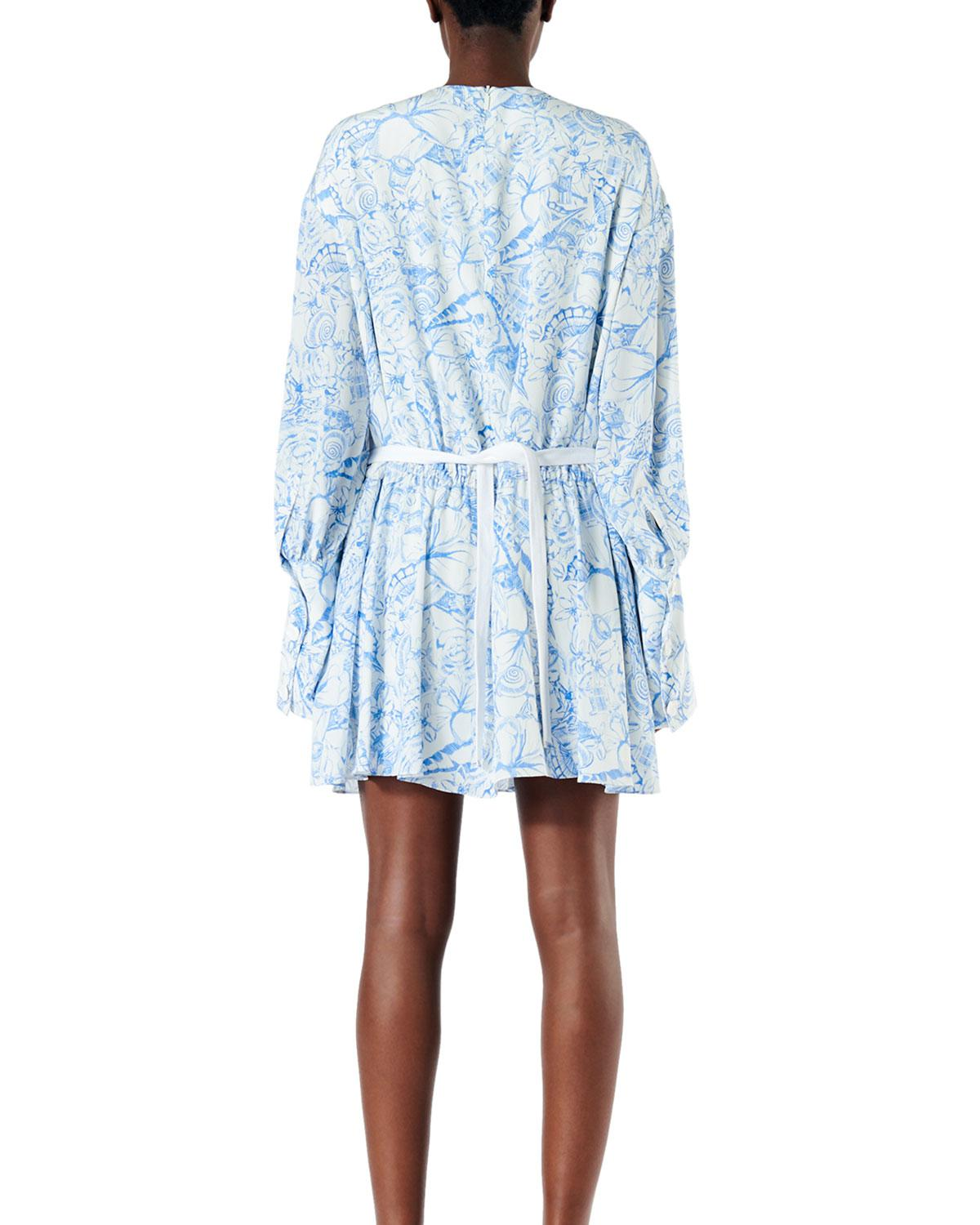 836ea569c22 Lyst - Tibi Isa Toile Drawstring Crepe De Chine Dress in Blue