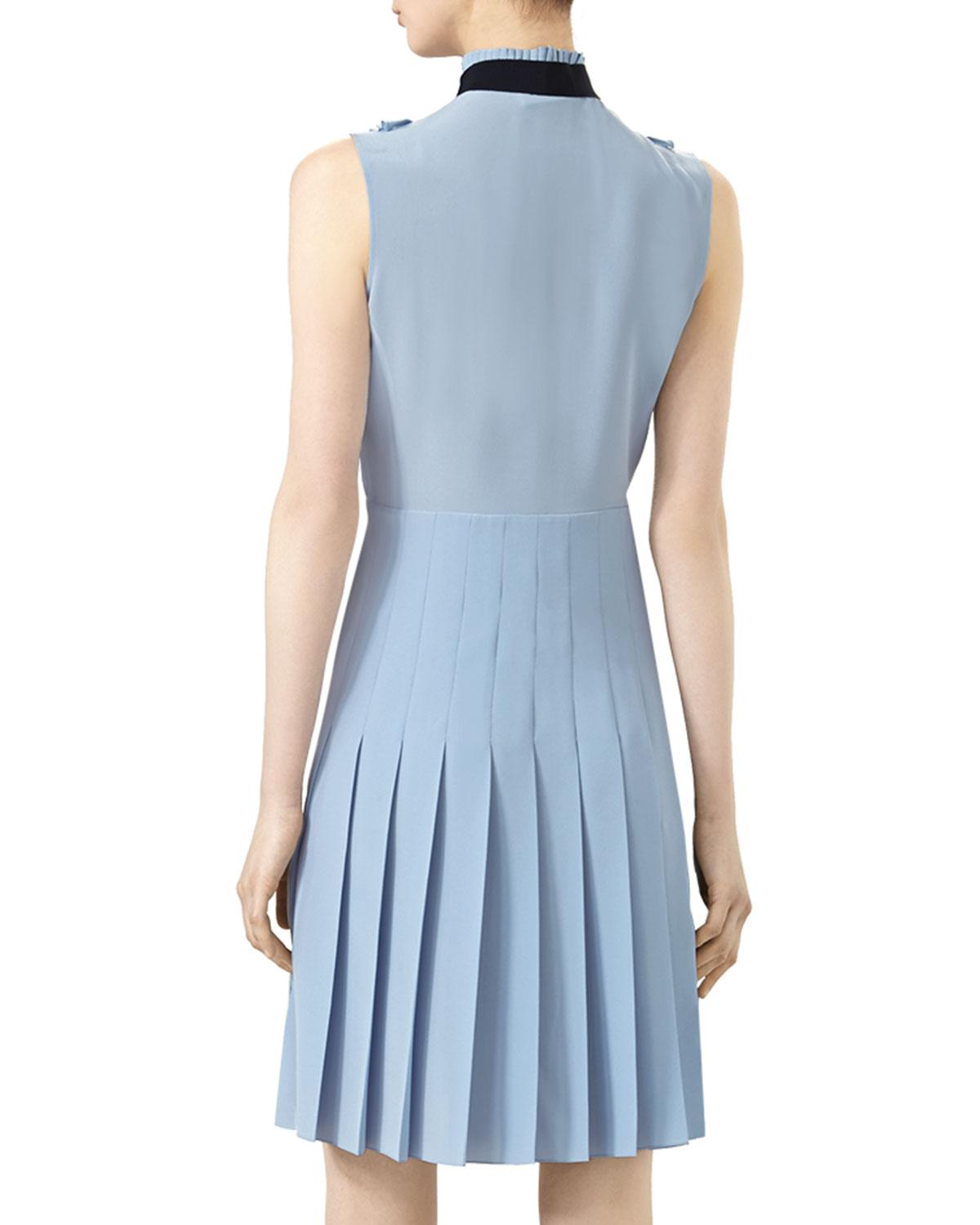 Lyst - Gucci Sleeveless Pleated Dress in Blue
