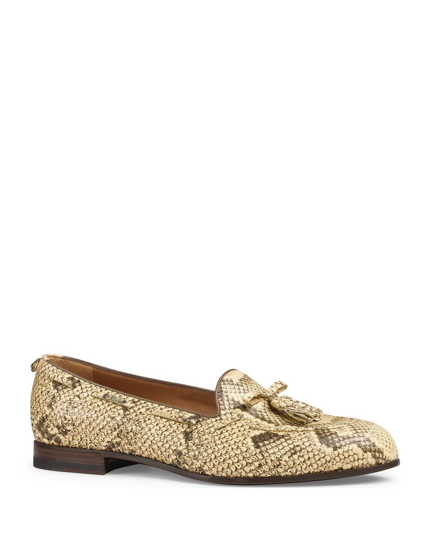 ace1cbd18 Gucci Python Tassel Loafer in Natural for Men - Lyst