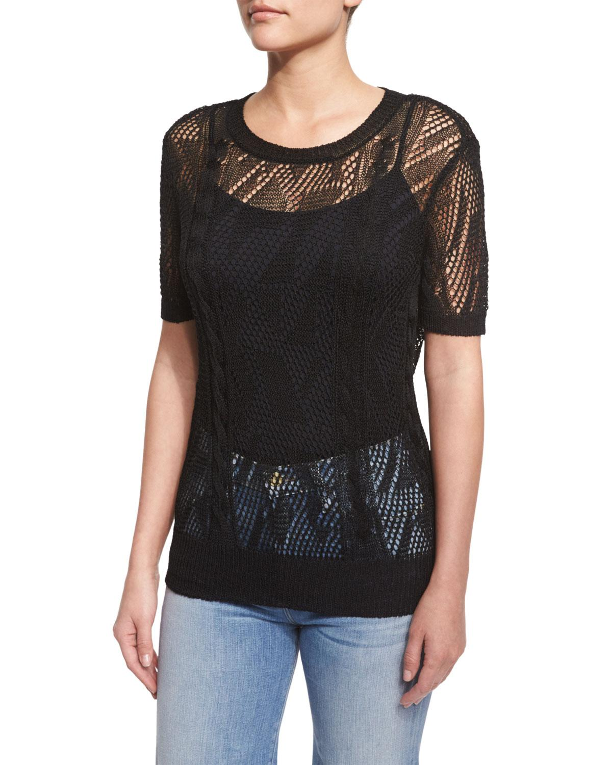 Frame Cropped Short-sleeve Sweater in Black | Lyst