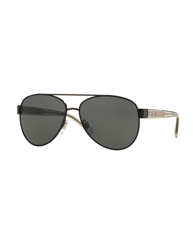 8a2aa2a72ef Lyst - Burberry Metal Check-trim Aviator Sunglasses in Black