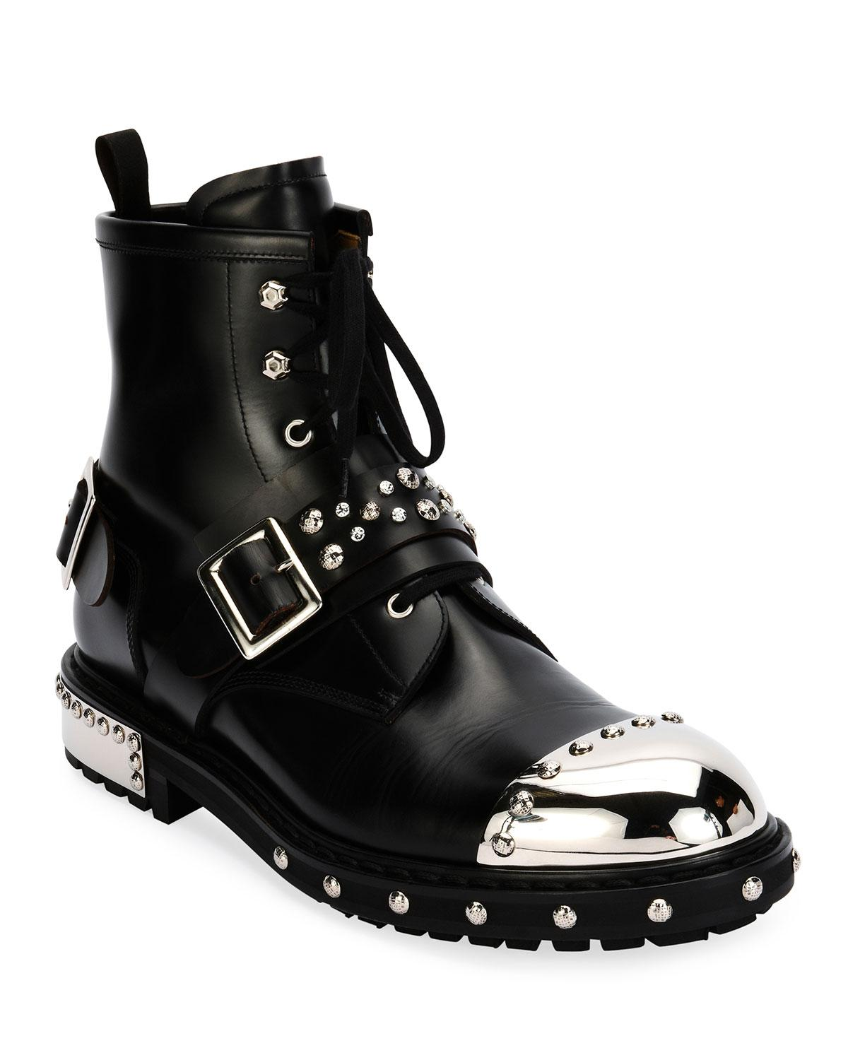 cbbb749ffc5b7 Lyst - Alexander McQueen Studded Cap-toe Leather Lace-up Boot in ...