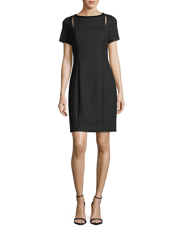 Lyst Elie Tahari Jonas Cutout Short Sleeve Dress In Black