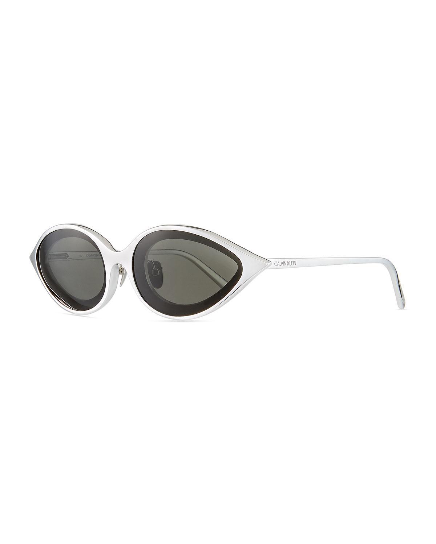 a883deb1f721 Lyst - CALVIN KLEIN 205W39NYC Aluminum Oval Sunglasses in Metallic