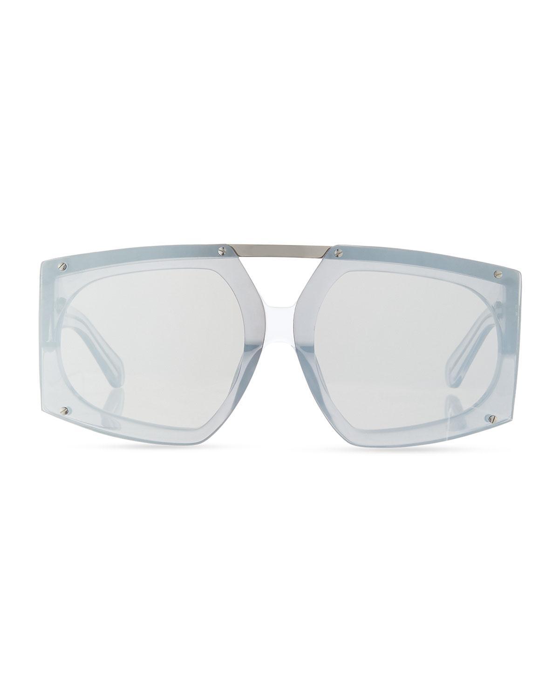 692e4aa94b80 Lyst - Karen Walker Salvador Oversized Mirrored Wrap Sunglasses in White