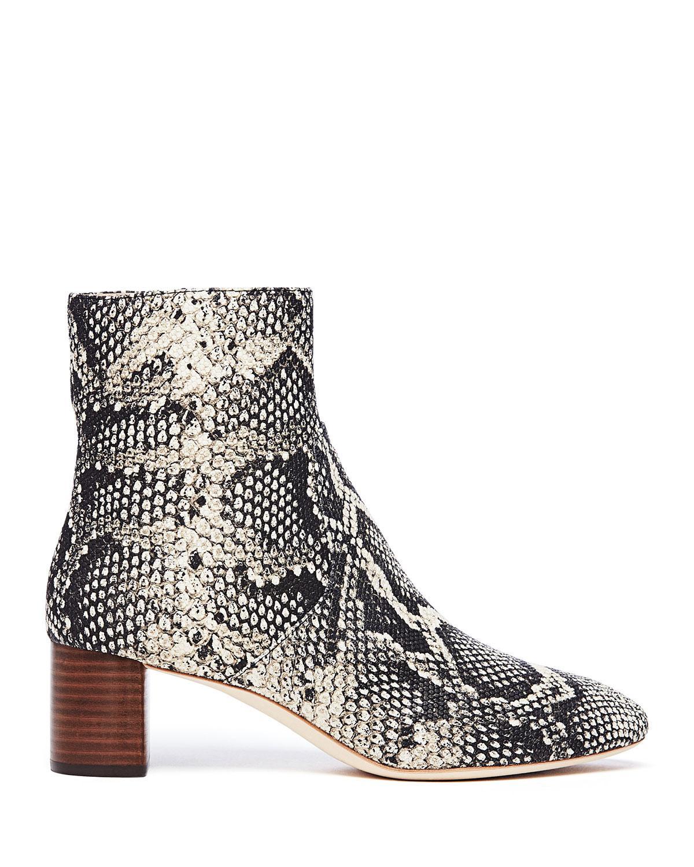 ac9572237d8a Lyst - Loeffler Randall Gema Snake-print Leather Block-heel Booties in Black