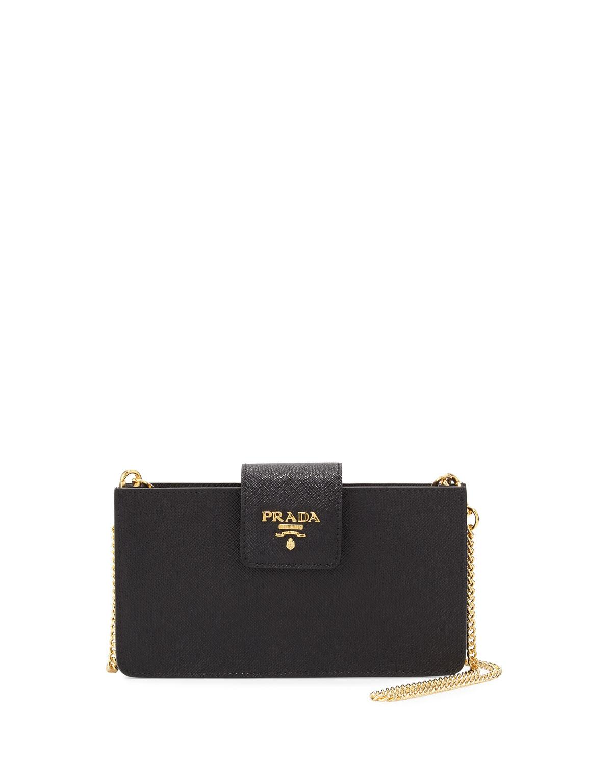 f4d9ffe208c2 Prada Saffiano Phone Crossbody Bag in Black - Lyst