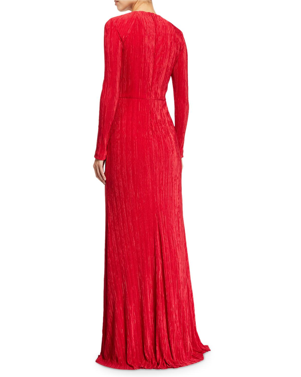 da0fe78644c Badgley Mischka Fortuni Knotted Long-sleeve Drape Dress in Red - Lyst