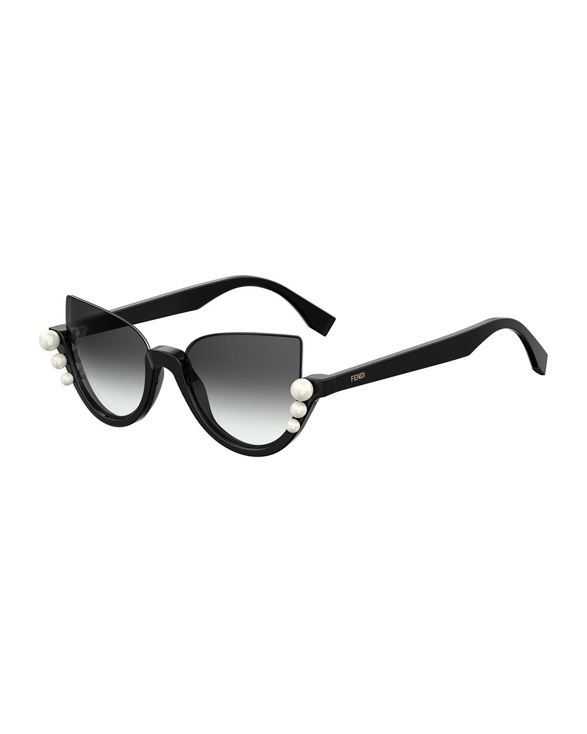 10033d24c4 Fendi - Black Blink Half-rim Pearl Cat-eye Sunglasses - Lyst. View  fullscreen