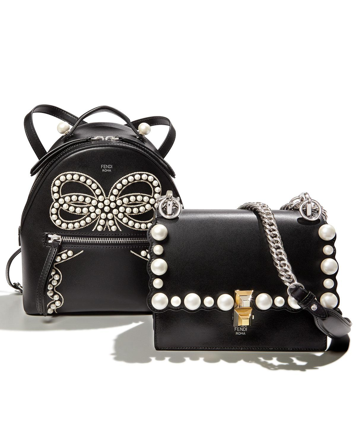 71a27ab138 Lyst - Fendi Kan I Small Pearly-studded Leather Shoulder Bag in Black