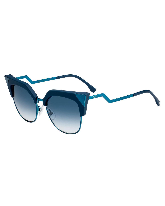 f6b1d0e2a93 Lyst - Fendi Iridia Mirrored Cat-eye Sunglasses in Blue