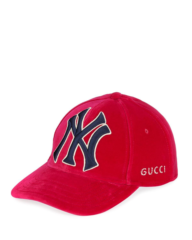 53348841405 Gucci - Red New York Yankees Mlb Patch Velvet Baseball Hat - Lyst. View  fullscreen