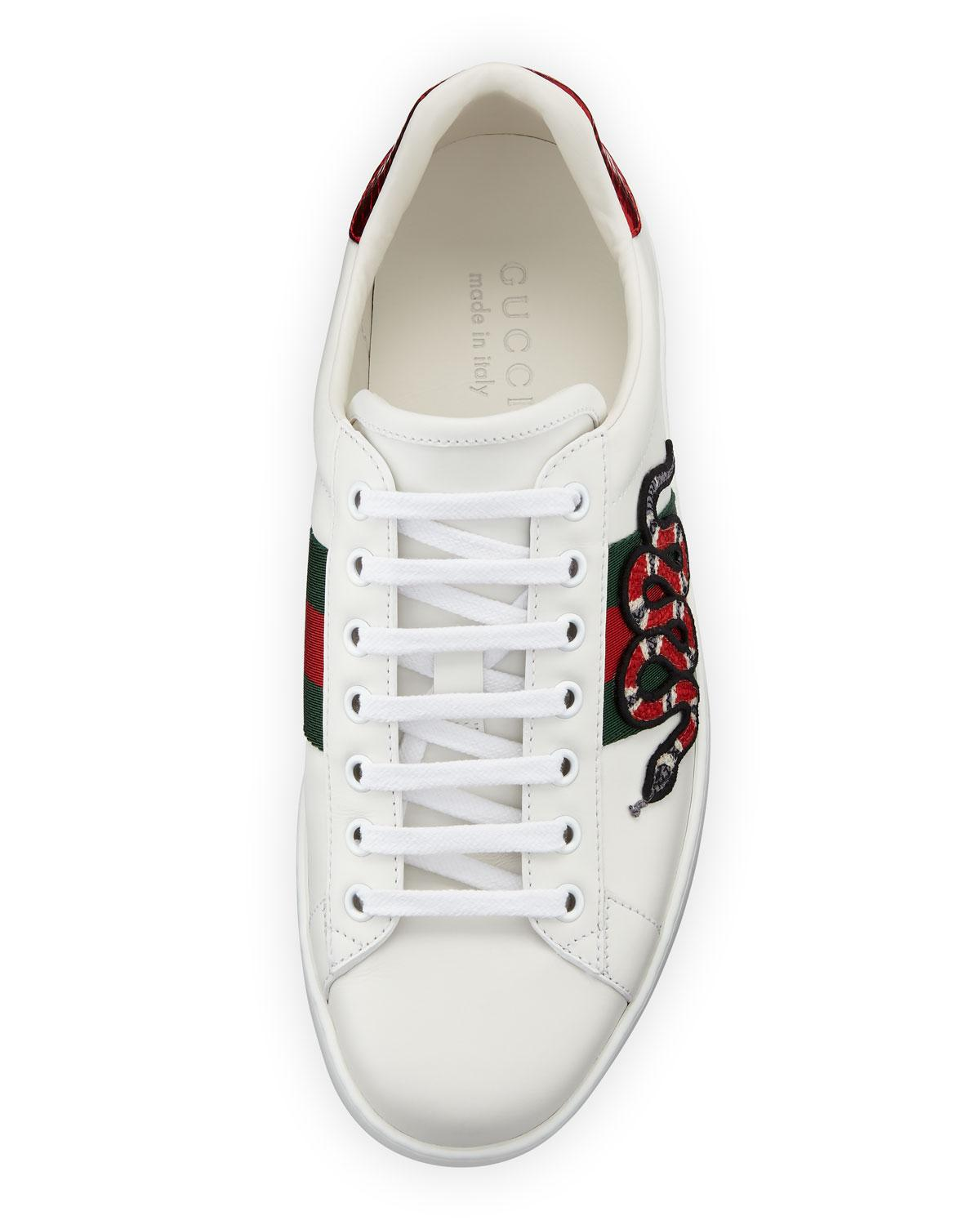77a3834a405 Lyst - Gucci New Ace Men s Snake Sneakers in White for Men