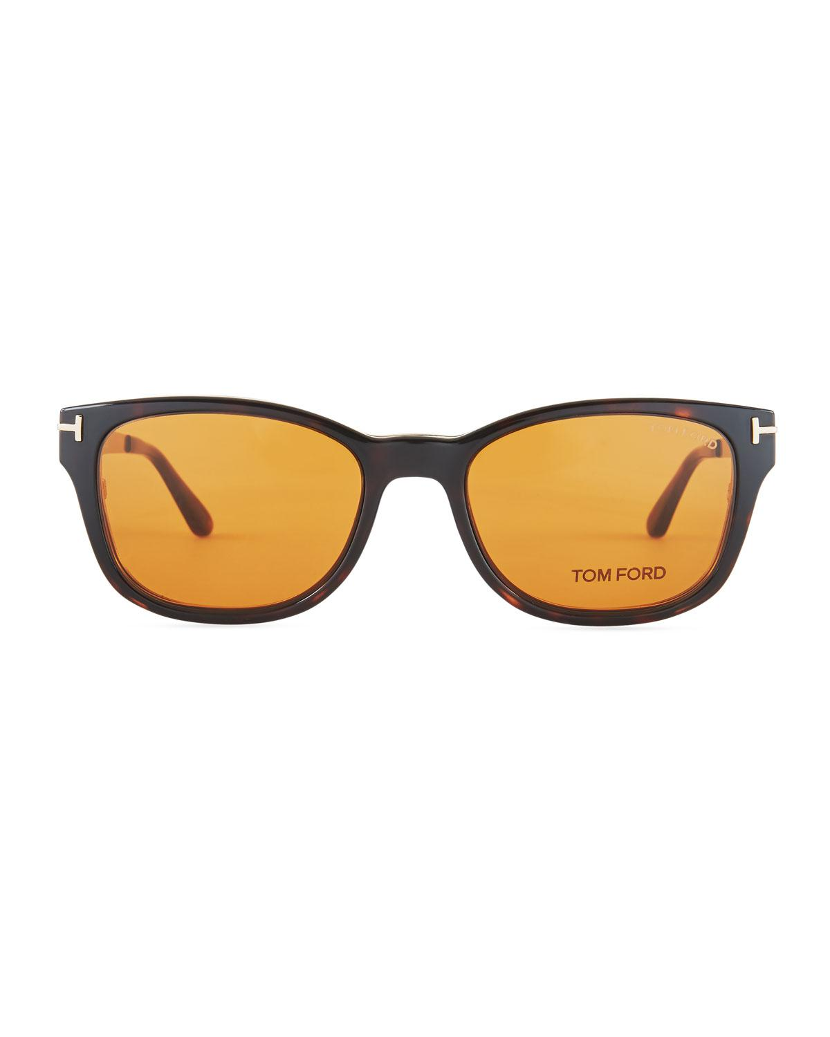 4e2f5bc4bc4 Lyst - Tom Ford Soft Square Plastic metal Glasses W  Clip-on Sun Lenses in  Brown