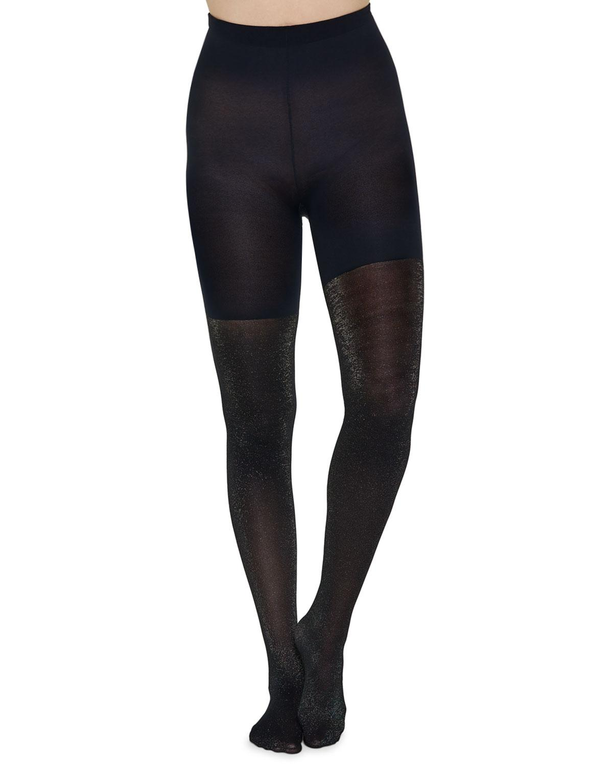 a639fcf273 Lyst - Spanx Mid-thigh Shaper Metallic Shimmer Tights in Black
