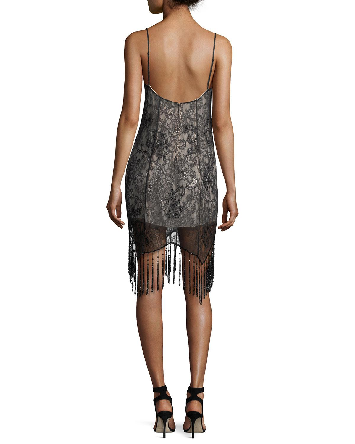 Lyst - Haute Hippie Embellished Lace Sleeveless Flapper Cocktail ...