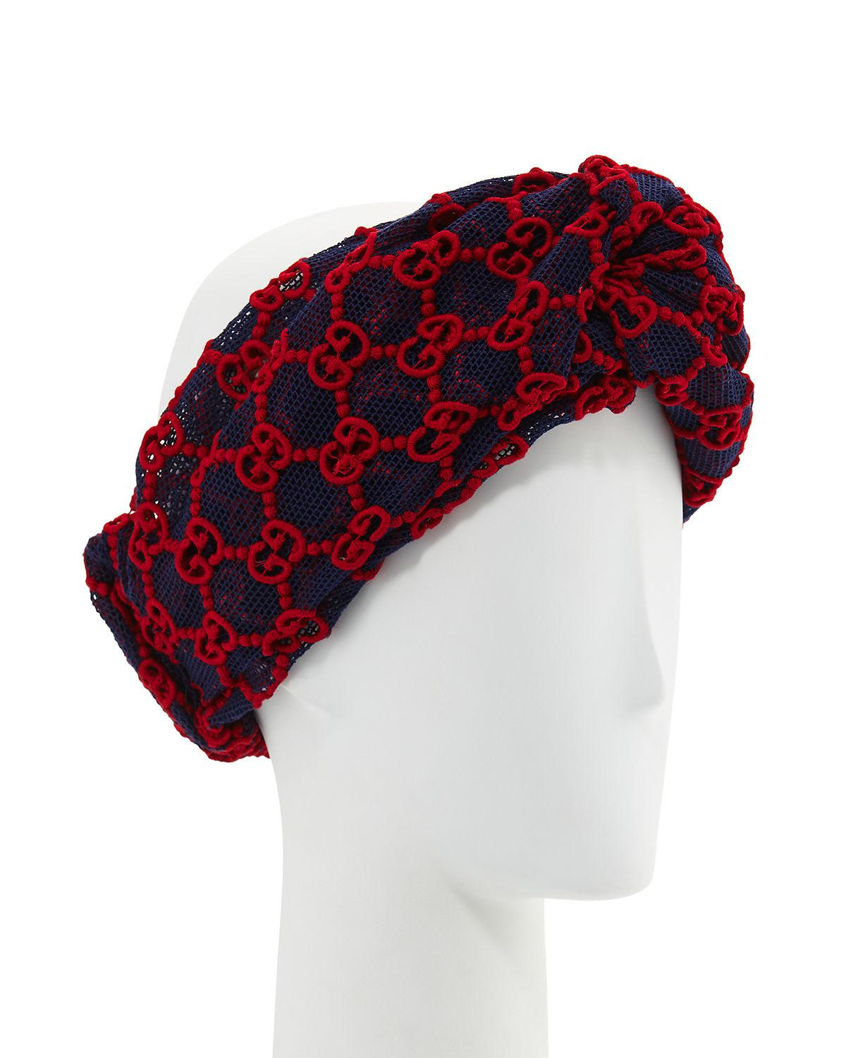 654d6e075be Gucci Macramé Lace GG Headband in Red - Lyst