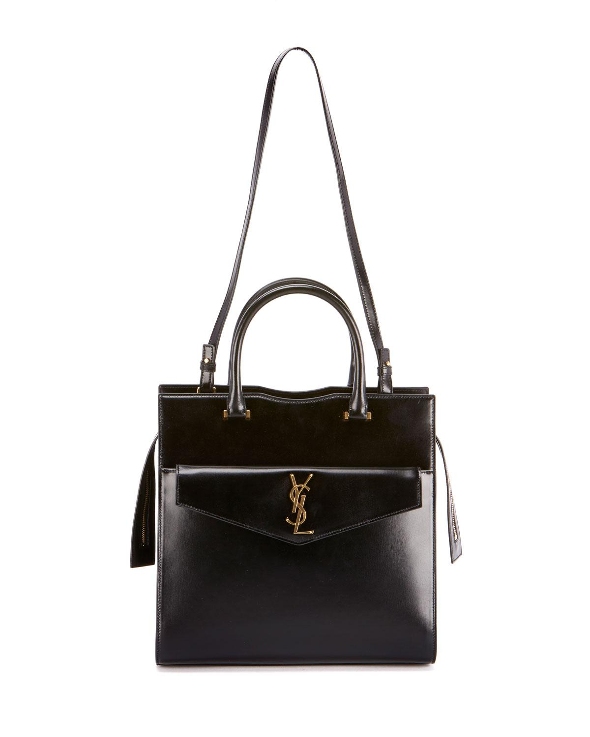 8663707b2191 Saint Laurent. Women s Black Uptown Medium Monogram Ysl Cabas Cuir Glace  Satchel Bag