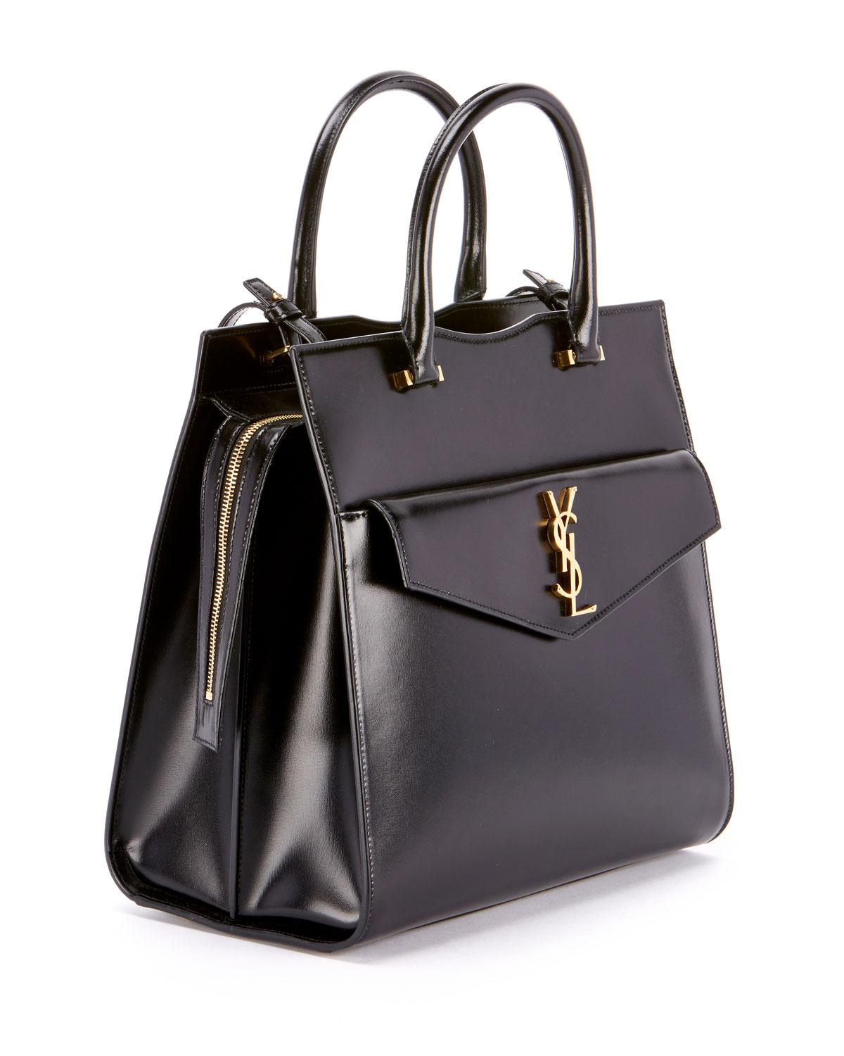 de339049e6c4 Lyst - Saint Laurent Uptown Medium Monogram Ysl Cabas Cuir Glace Satchel Bag  in Black