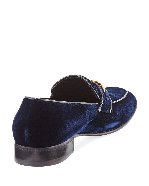 14e5d846f7a Tom Ford - Blue Velvet Chain-link Loafer for Men - Lyst. View fullscreen