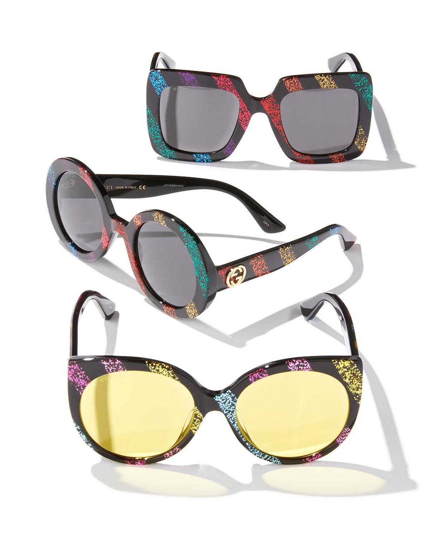 491b9e1654 Lyst - Gucci Glitter Striped Cat-eye Sunglasses