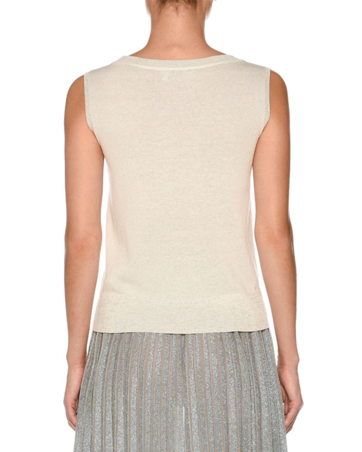 bafd216993359d Lyst - Agnona Sleeveless Crepe Cotton Top in White